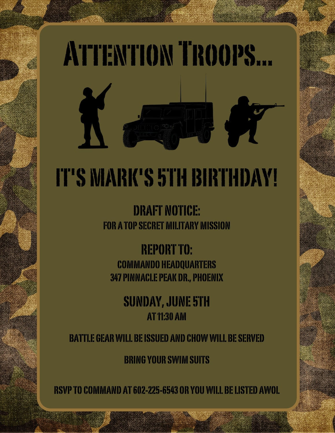 reserved thehunterfam army birthday invitations  u0026 save the