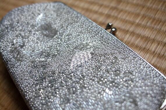 Vintage Japanese Kimono Clutch Silver Beaded