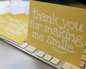 Set of 6 Yellow Smile folded note cards with matching envelopes - sunny, gratitude, cheerful, smiling