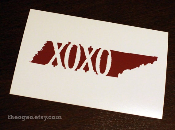 XOXO Tennessee 4x6 digital art print available in whatever color you'd like - state, typography, color, customizable, memphis, nashville