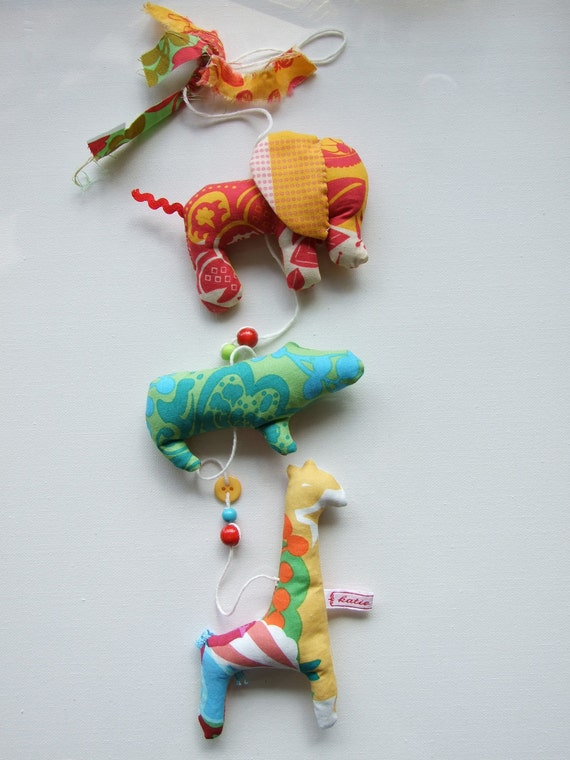 Tiny Animals Garland Softie Mobile Nursery Decor Hangs Vertically