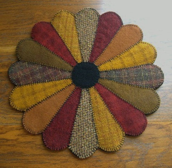 Items Similar To Primitive Wool Penny Rug Jar Candle Mat
