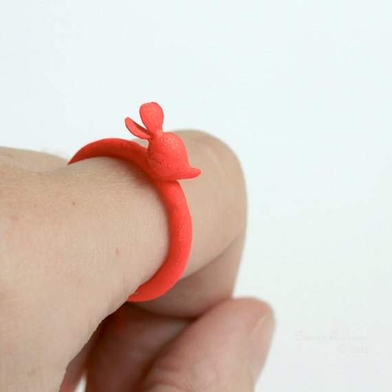 Red Neon Radish Ring Sterling Silver T13
