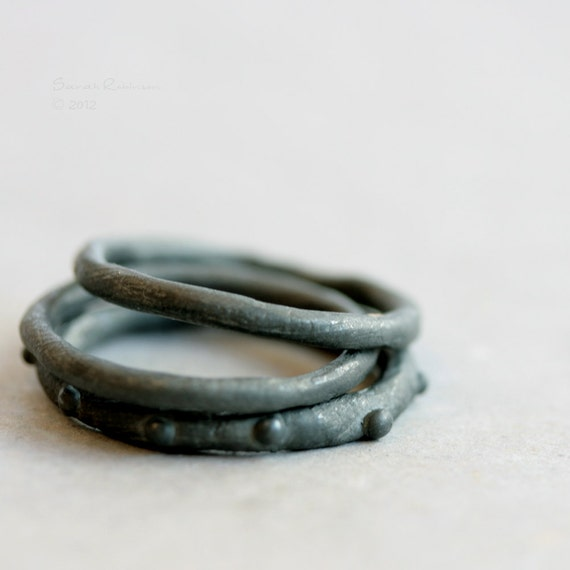Black Silver Stacking Rings Oxidized Bubbles T17
