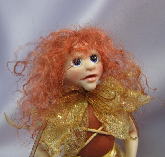 Lady Fiachina Art Doll with glass skirt OOAK Sculpt Sculpture by Artist Ann Galvin