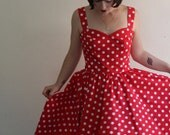 LAST CHANCE SALE The Minnie Red Polka Dot Party Dress with Circle Skirt size 10
