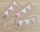 pink and white mini bunting  gift tags - set of three