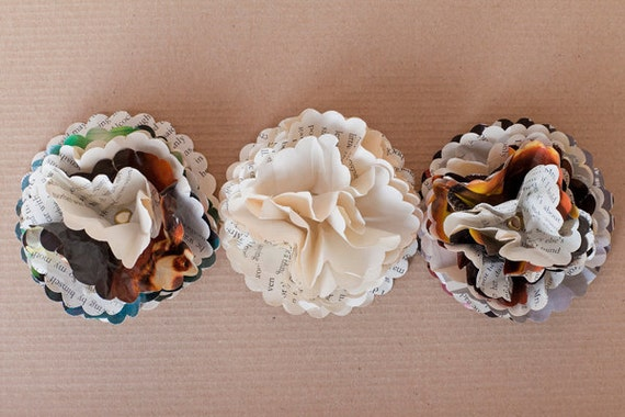 Handmade Paper Flowers - Neutral Shades - Set of Three