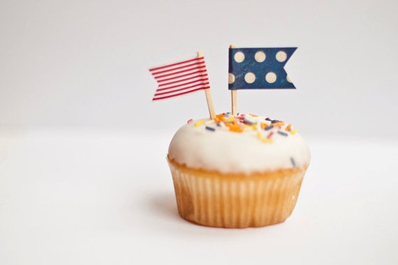 Cupcake Flags, Set of 12 Red White and Blue Cupcake Toppers Jubilee, Olympics, 4th July