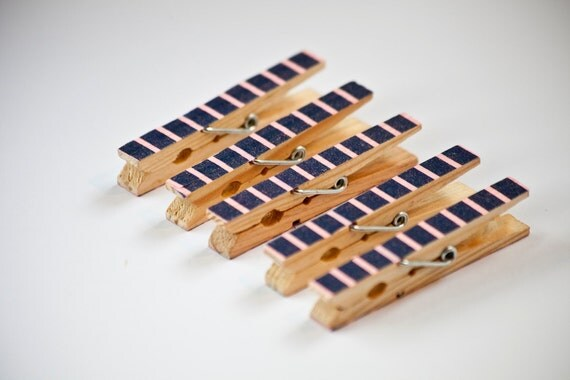 Set of 5 Blue and Pink Striped Decorated Wooden Clothes Pegs / Clothes Pins / Clips