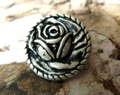 Metal Buttons - Rose Bud Metal Buttons , Retro Silver Color , Shank , 0.79 inch , 10 pcs