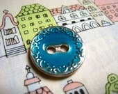 Metal Buttons - Aqua Enamel Lake Placid Blue Buttons With Silver Scrollwork Border , 2 Holes ,0.67 inch , 10 pcs