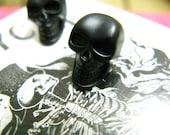 6 Skull Metal Buttons , Matte Black Color , Shank , 0.59 inch