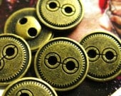 Mini Metal Buttons - 10 Pieces Terse Gearwheel Border Copper Buttons, 0.47 inch