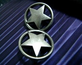 Metal Buttons - Ring and Star Metal Buttons , Nickel Silver Color , Openwork , Shank , 0.59 inch , 10 pcs