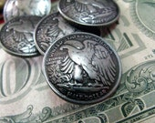 1946 American Half Dollar Eagle Metal Buttons , Nickel Silver Color , Shank , 0.79 inch , 10 pcs