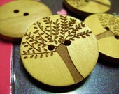 Wood Buttons - Natural Wood Carving Big Tree Pattern Buttons, 1.19 inch. 10 in a set