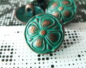 Metal Buttons - Cutie Retro Deep Cyan Clover Shank Metal Button , 0.59 inch , 100 pcs
