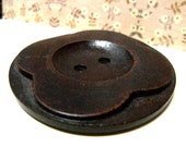 Wooden Buttons - Relief Carving Large Flowers Dark Brown Color Wooden Buttons, 2.20 inch (4 in a set)