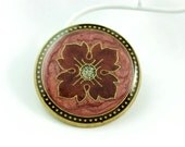 Metal Buttons - Cranberry red Byzantine Flower in LightCoral Luster Design , Shank , 1.18 inch , 2 pcs