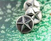 Star Metal Buttons - Lot 10 Emboss Sharp Star Pattern Gunmetal Shank Buttons. 0.59 inch.