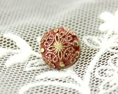 Metal Buttons - Damascene Carvings Metal Buttons , Red Paint Brass Color , Shank , 0.39 inch , 10 pcs