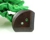 Wooden Buttons - Unique Fan Shape Bevel Edge Brown Wood Buttons. 1.58 inch, 6 pcs