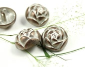 Metal Buttons - Rose Bud Metal Buttons , Copper White Patina Color , Shank , 0.91 inch , 10 pcs