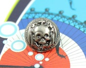 Metal Buttons - Skull Princess Metal Buttons , Nickel Silver Color , Shank , 0.43 inch , 10 pcs