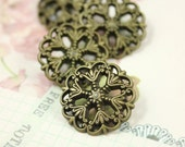 Metal Buttons - Medieval Filigree Metal Buttons , Antique Brass Color , Openwork , Shank , 0.79 inch , 10 pcs