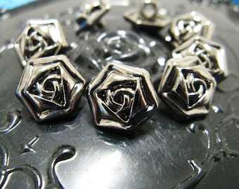 Metal Buttons - Rose Metal Buttons , Pewter Color , Shank , 0.51 inch , 10 pcs