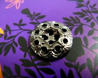 Metal Buttons - Iron Art Metal Buttons , Gunmetal Color , 4 Holes , .0.71 inch , 9 pcs