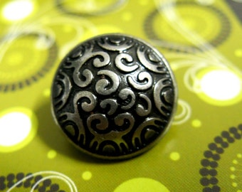 Metal Buttons - Cirrus Metal Buttons , Nickel Silver Color , Domed , Shank , 0.79 inch , 10 pcs