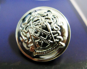 Metal Buttons - Shield Emblem Metal Buttons , Shiny Silver Color , Domed , Shank , 0.79 inch , 10 pcs