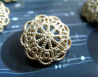 Metal Buttons - Iron Art Flower Metal Buttons , Light Gold Color , Shank , 0.79 inch , 10 pcs