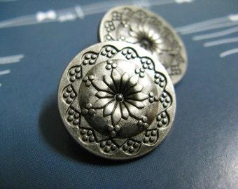 Metal Buttons - Flower Mandala Metal Buttons , Gunmatel Color , Shank , 0.79 inch , 10 pcs