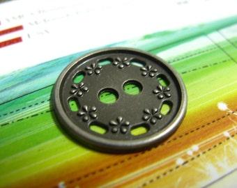 Metal Buttons - Floret Border Metal Buttons , Nickel Silver Color , 2 Holes , 0.43 inch , 10 pcs