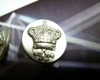 Metal Buttons - Crown Metal Buttons , Silver Color , Shank , 0.67 inch , 10 pcs