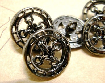 Metal Buttons - Chain Cross Metal Buttons , Shiny Gunmetal Color , Openwork , Shank , 0.70 inch , 10 pcs