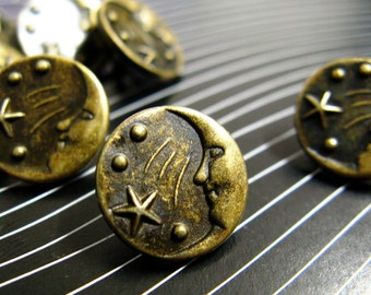 Metal Buttons - Moon and Star Metal Buttons , Antique Brass Color , Shank , 0.43 inch , 10 pcs