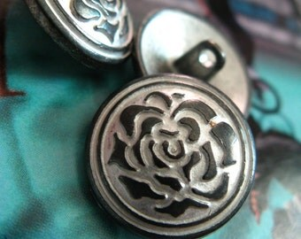 Metal Buttons - Rose Bloom Metal Buttons , Gunmetal Gray Color , Shank , 0.67 inch , 10 pcs