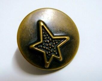 Metal Buttons - Rock Star Metal Buttons , Antique Brass Color , Shank , 0.71 inch , 10 pcs