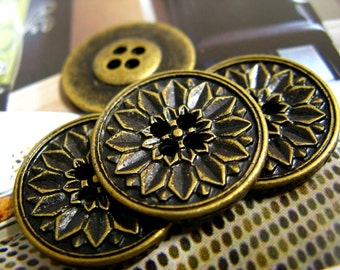 Metal Buttons - Peony Bloom Metal Buttons , Antique Brass Color , 4 Holes , 0.75 inch , 10 pcs