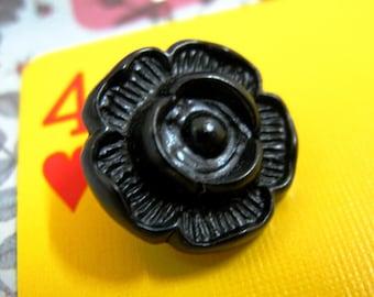 Metal Buttons - Plum Flower Metal Buttons , Black Color , Shank , 0.71 inch , 10 pcs