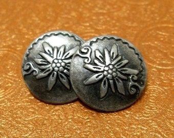 Metal Buttons - Edelweiss Metal Buttons , Nickel Silver Color , Shank , 0.59 inch , 10 pcs