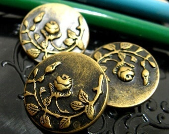 Metal Buttons - Rose Vine Metal Buttons , Antique Brass Color , Shank , 0.78 inch , 10 pcs