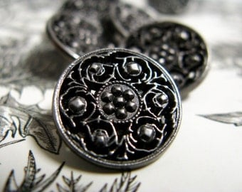 Metal Buttons - Flowerbuds Lattice Metal Buttons , Nickel Silver Color , Shank , 0.59 inch , 10 pcs