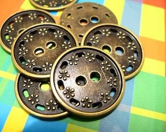 Metal Buttons - Floret Border Metal Buttons , Antique Brass Color , 2 Holes , 0.79 inch , 10 pcs