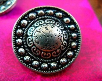Metal Buttons - Beads Domed Metal Buttons , Retro Silver Color , Shank , 0.91 inch , 6 pcs