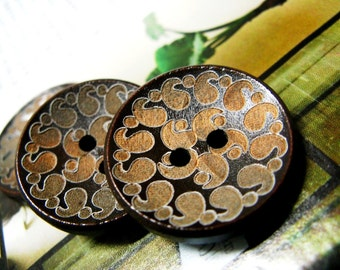 Wooden Buttons - Japanese Style Brown Concave Wooden buttons with Khaki Cirrus pattern. 0.98 inch. 10 in a set